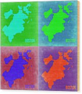 Boston Pop Art Map 2 Wood Print by Naxart Studio