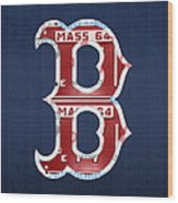 Boston Red Sox Logo Letter B Baseball Team Vintage License Plate Art Wood Print by Design Turnpike