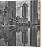 Boston Reflections Bw Wood Print