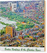 Boston Rooftops And The Charles River Wood Print