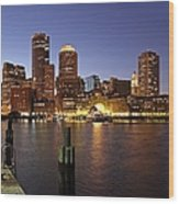 Boston Skyline And Fan Pier Wood Print by Juergen Roth