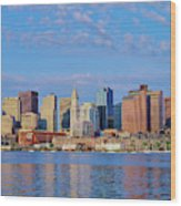 Boston Skyline And Harbor, Massachusetts Wood Print