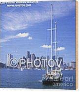 Boston Skyline And Sailboat - Massachusetts - Limited Edition Wood Print