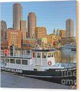 Boston Skyline And Thompson Island Ferry I Wood Print