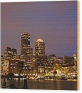 Boston Skyline Blue Hour Wood Print by Stewart Mellentine