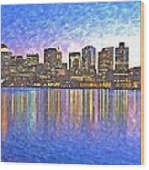 Boston Skyline By Night Wood Print