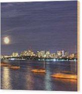 Boston Skyline From Memorial Drive Wood Print