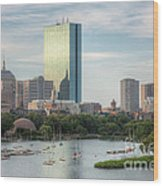 Boston Skyline I Wood Print