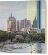 Boston Skyline II Wood Print