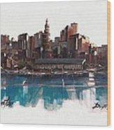 Boston Skyline  Number 1 Wood Print