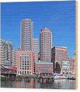 Boston Skyline Over Water Wood Print