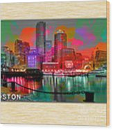 Boston Skyline Painting Wood Print