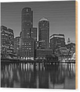 Boston Skyline Seaport District Bw Wood Print