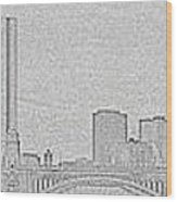 Boston Skyline Stencil Wood Print