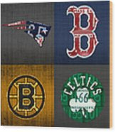 Boston Sports Fan Recycled Vintage Massachusetts License Plate Art Patriots Red Sox Bruins Celtics Wood Print