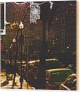 Brisk Walk On Hanover Street - Boston Wood Print