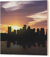 Boston Sunset Skyline  Wood Print