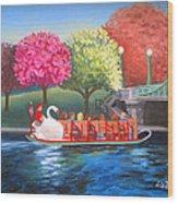 Boston Swan Boat Wood Print
