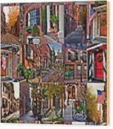 Boston Tourism Collage Wood Print