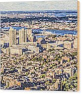 Boston Usa Elevated View Wood Print