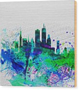 Boston Watercolor Skyline Wood Print