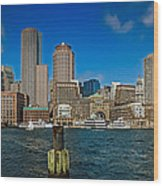 Boston Waterfront Skyline Wood Print