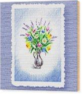 Botanical Impressionism Watercolor Bouquet Wood Print