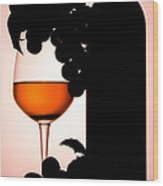 Bottle And Wine Glass Wood Print