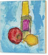 Bottle Apple And Lemon Wood Print
