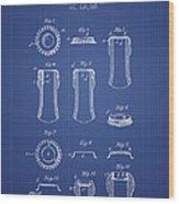 Bottle Cap Patent 1899- Blueprint Wood Print