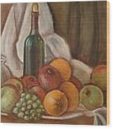Bottle Of Bordeaux With Fruits Wood Print