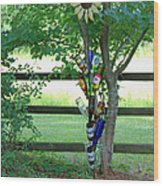 Bottle Tree Wood Print by Suzanne Gaff