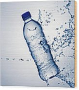 Bottle Water And Splash Wood Print