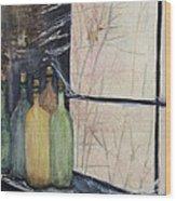 Bottles Of Wine In Cellar Wood Print by Anais DelaVega