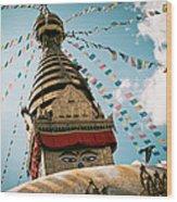 Boudhnath Stupa In Nepal Wood Print by Raimond Klavins