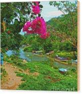 Bouganvilla Watches Over Village Fishing Boats Wood Print