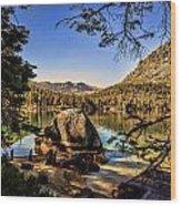 Boulder At Fallen Leaf Lake Wood Print