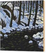 Boulder Brook In Winter Wood Print