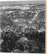 Boulder Colorado City Lights Panorama  Black And White Wood Print