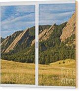 Boulder Colorado Flatirons White Window Frame Scenic View Wood Print