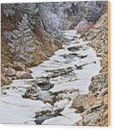 Boulder Creek Frosted Snowy Portrait View Wood Print