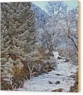 Boulder Creek Winter Wonderland Wood Print