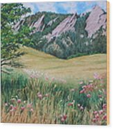 Boulder Flatirons - Chautauqua Study Wood Print