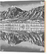 Boulder Reservoir Flatirons Reflections Boulder Co Bw Wood Print
