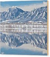Boulder Reservoir Flatirons Reflections Boulder Colorado Wood Print