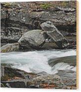 Boulders In Mcdonald Creek Wood Print