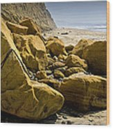 Boulders On The Beach At Torrey Pines State Beach Wood Print