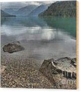 Boulders On The Edge Of Cheakamus Lake Wood Print