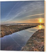 Boundary Bay B.c Sunset Wood Print