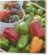 Bountiful Peppers Wood Print